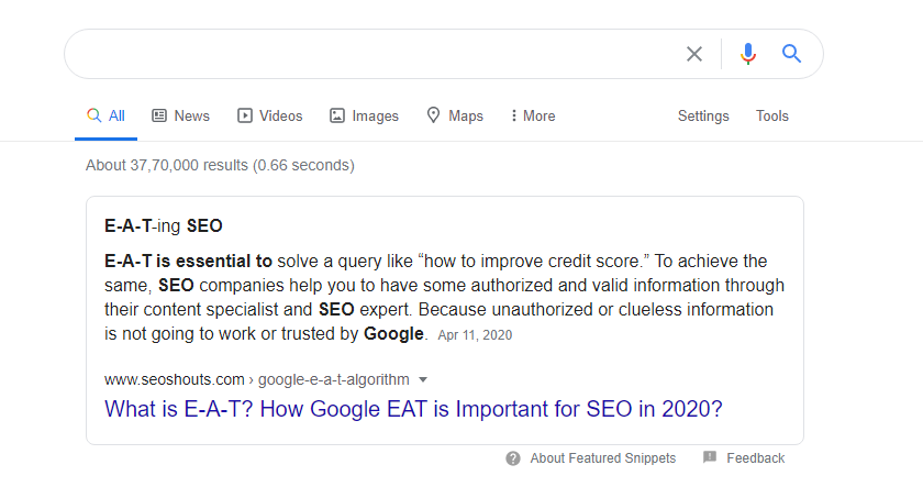 seoshouts in google feature snippet results